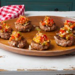 Smokey mini burgers (sliders) with spicy nectarine salsa
