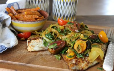 Tilapia with tomato jam and pumpkin fries
