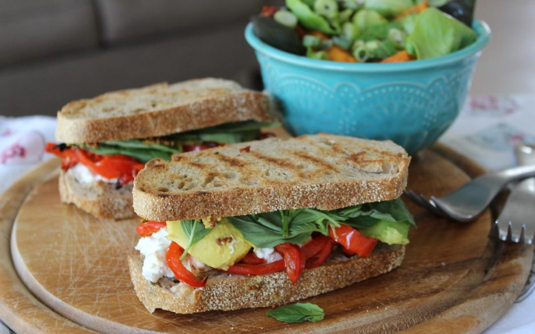 Rustic sandwich with sweet potato citrus salad