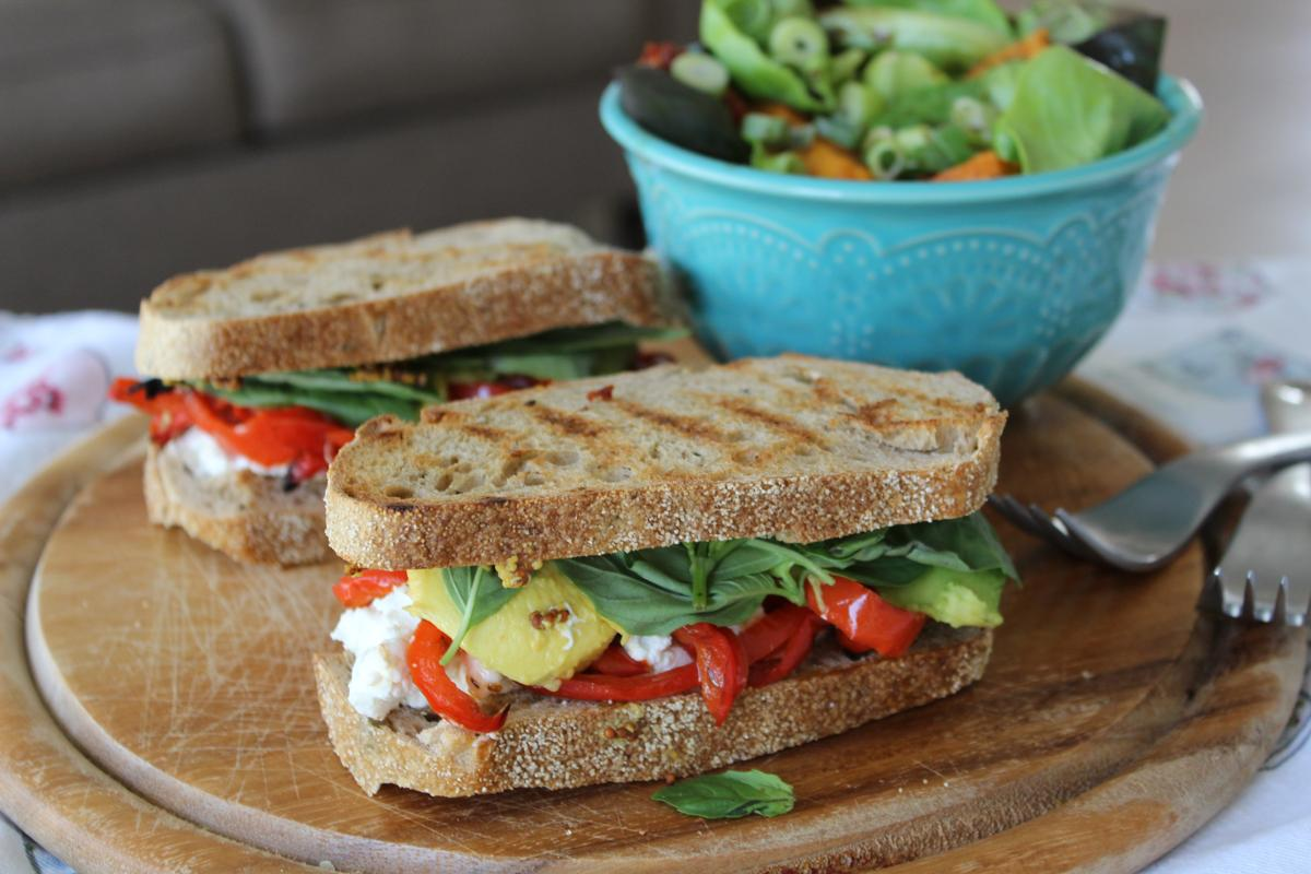 Rustic sandwich and sweet potato citrus salad