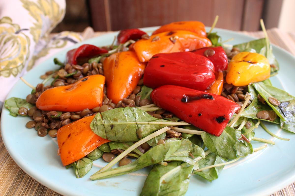 lentil-salad-grilled-peppers