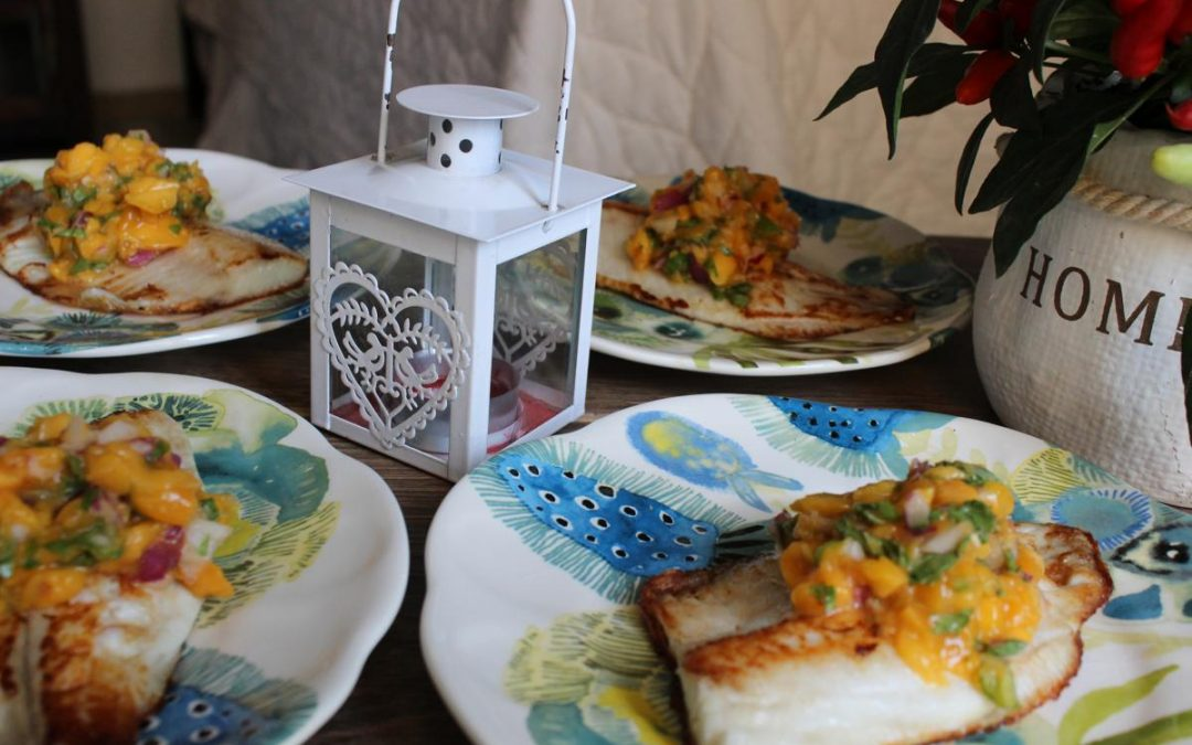 Red snapper with jalapeno mango salsa