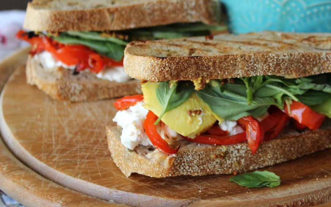 Rustic fresh mozzarella sandwiches