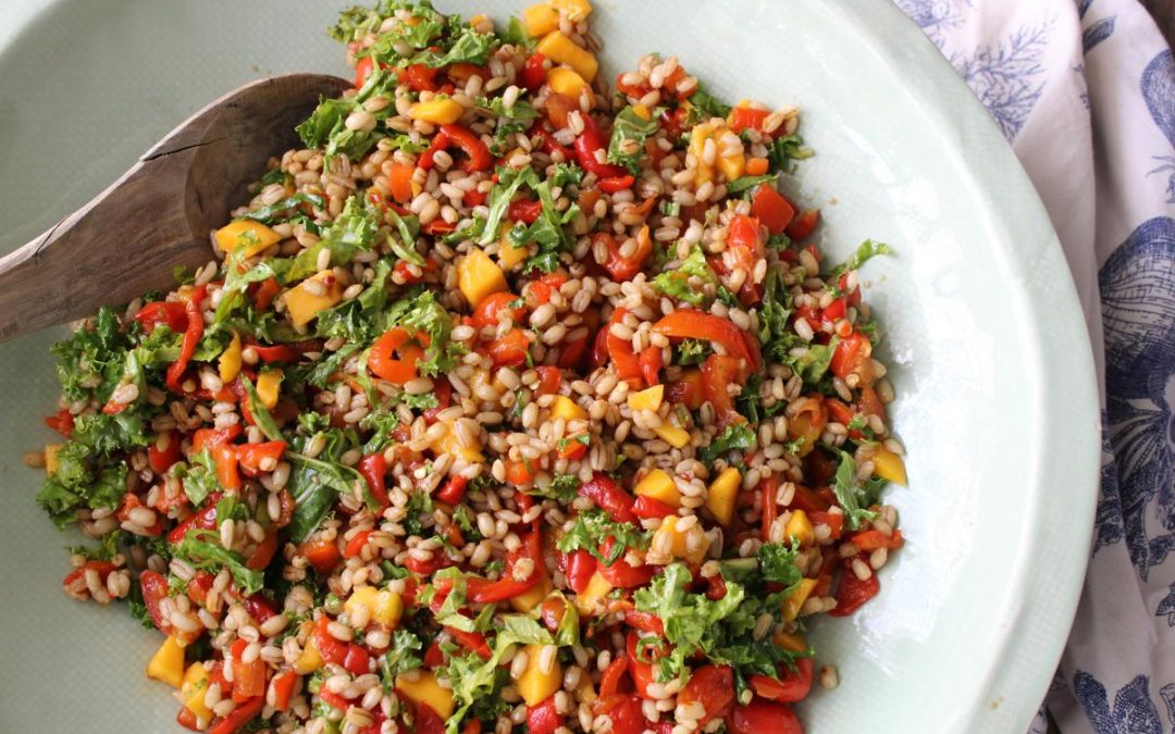 Kale mango barley salad