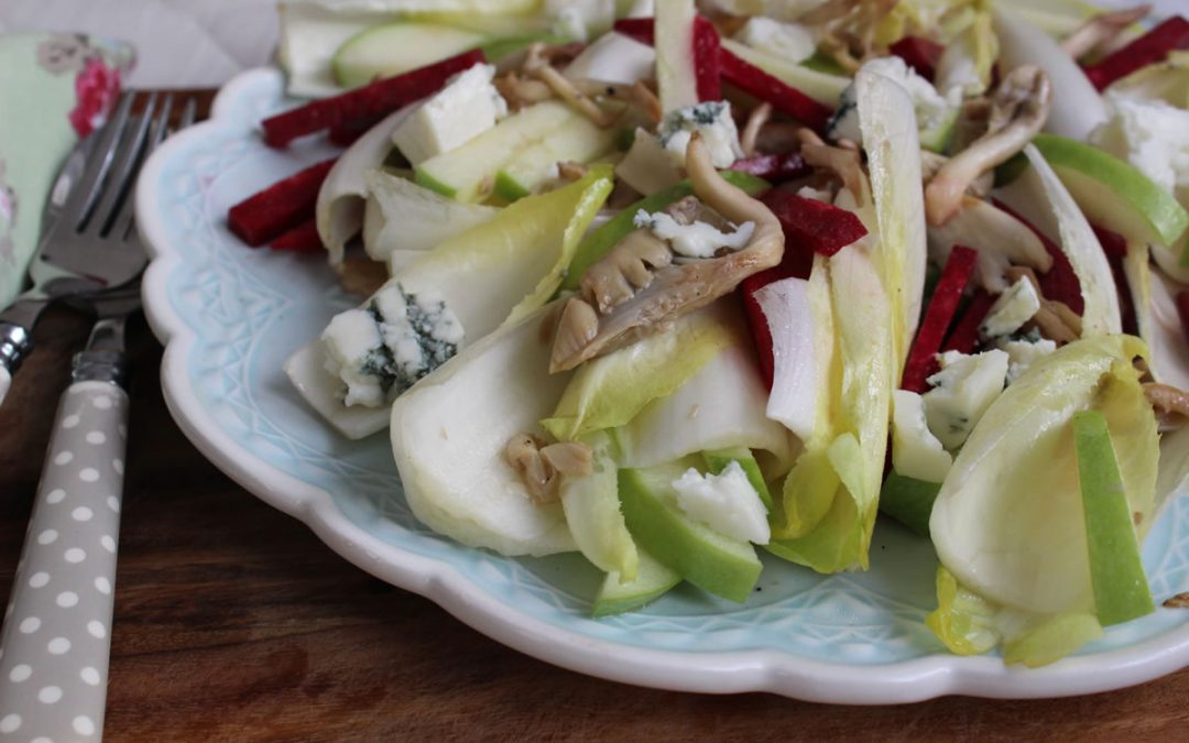 Endive apple salad with charred salmon