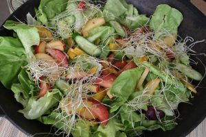 tri-color-plum-cucumbers-sprouts-butter-lettuce-balsamic-vinaigrettte-maple-syrup