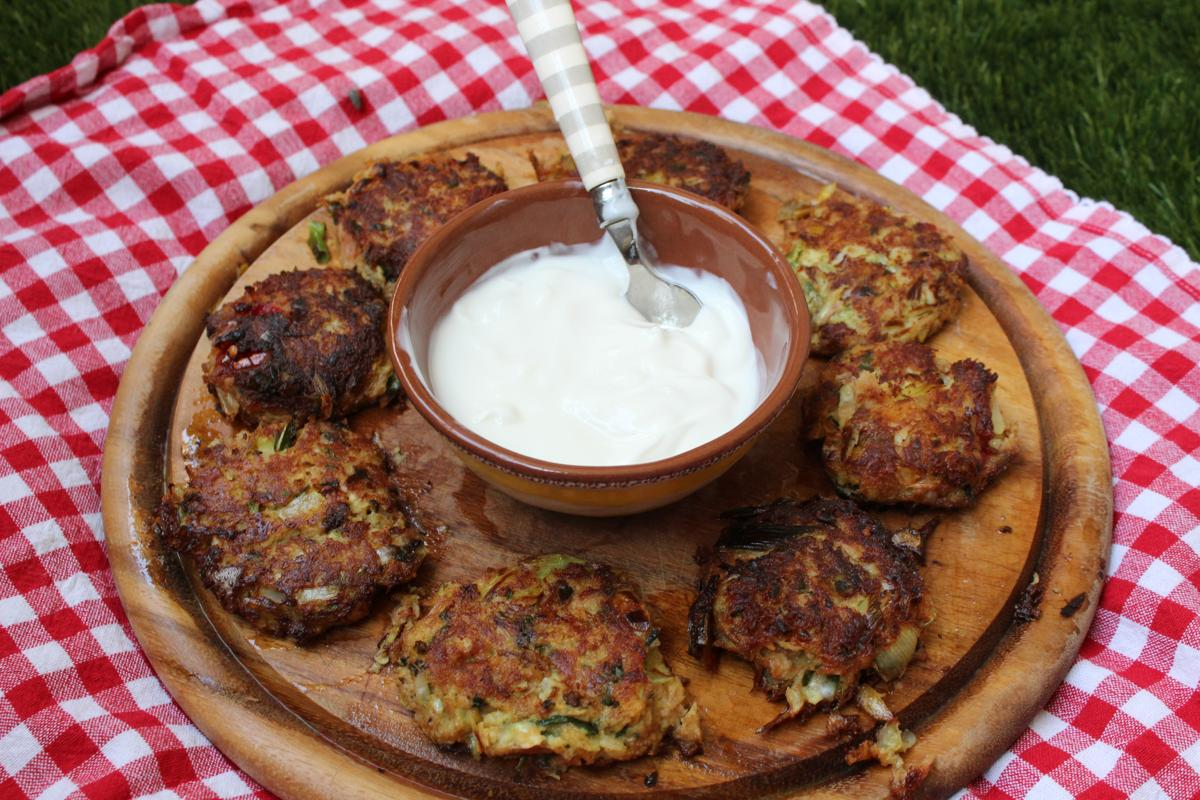 tuna-vegetable-fritters-patties-yogurt-lime-peanut-dipping-sauce