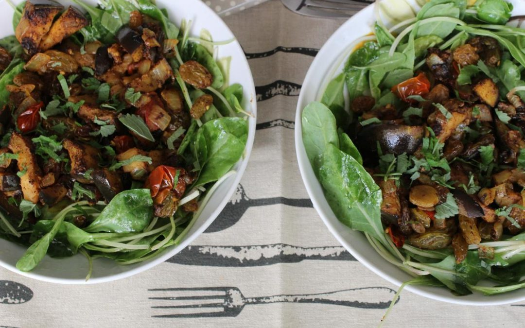 Eggplant raisin salad