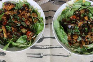 Eggplant raisin salad