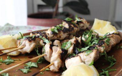 Chicken skewers and tri-plum salad