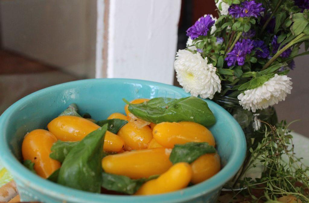 Yellow pear tomato salad