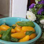 yellow-pear-tomatoes-garlic-basil-salad