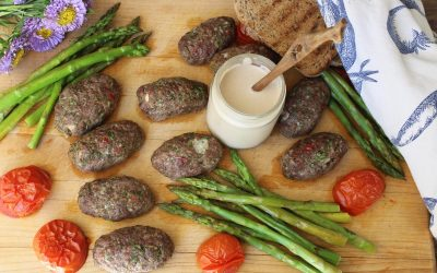 Kofta meat kebabs and Tahini