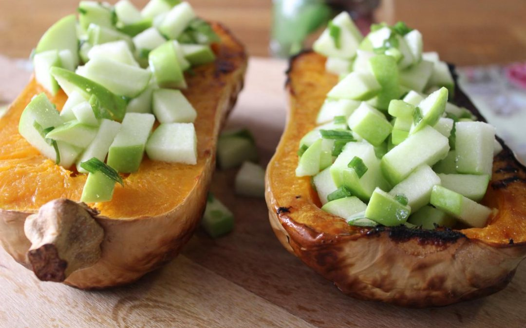 Butternut squash with apple salsa
