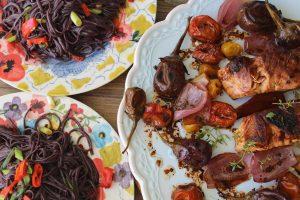 glazed-salmon-black-rice-noodles-baby-eggplant