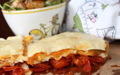 Sweet potato lasagna and mushroom salad