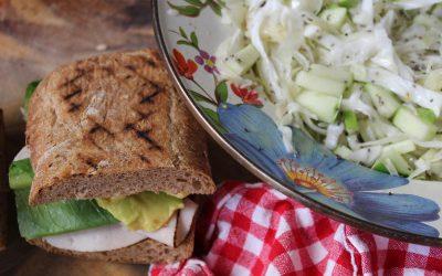 Turkey sandwich and chia seed slaw