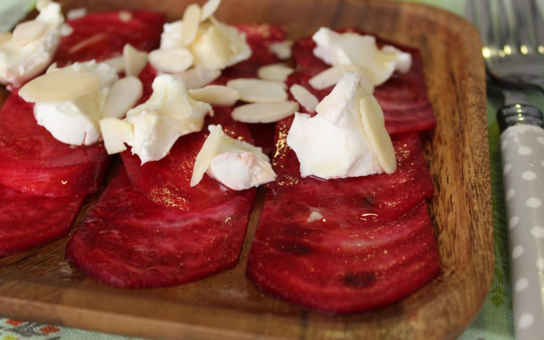 Deconstructed ravioli with beet carpaccio