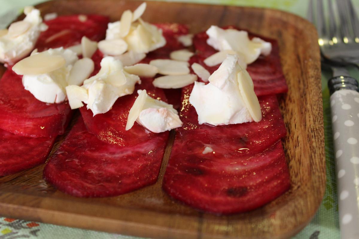 beet-carpaccio-honey-goat-cheese-balsamic