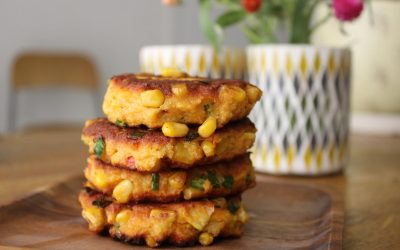 Corn fritters and carrot chicken
