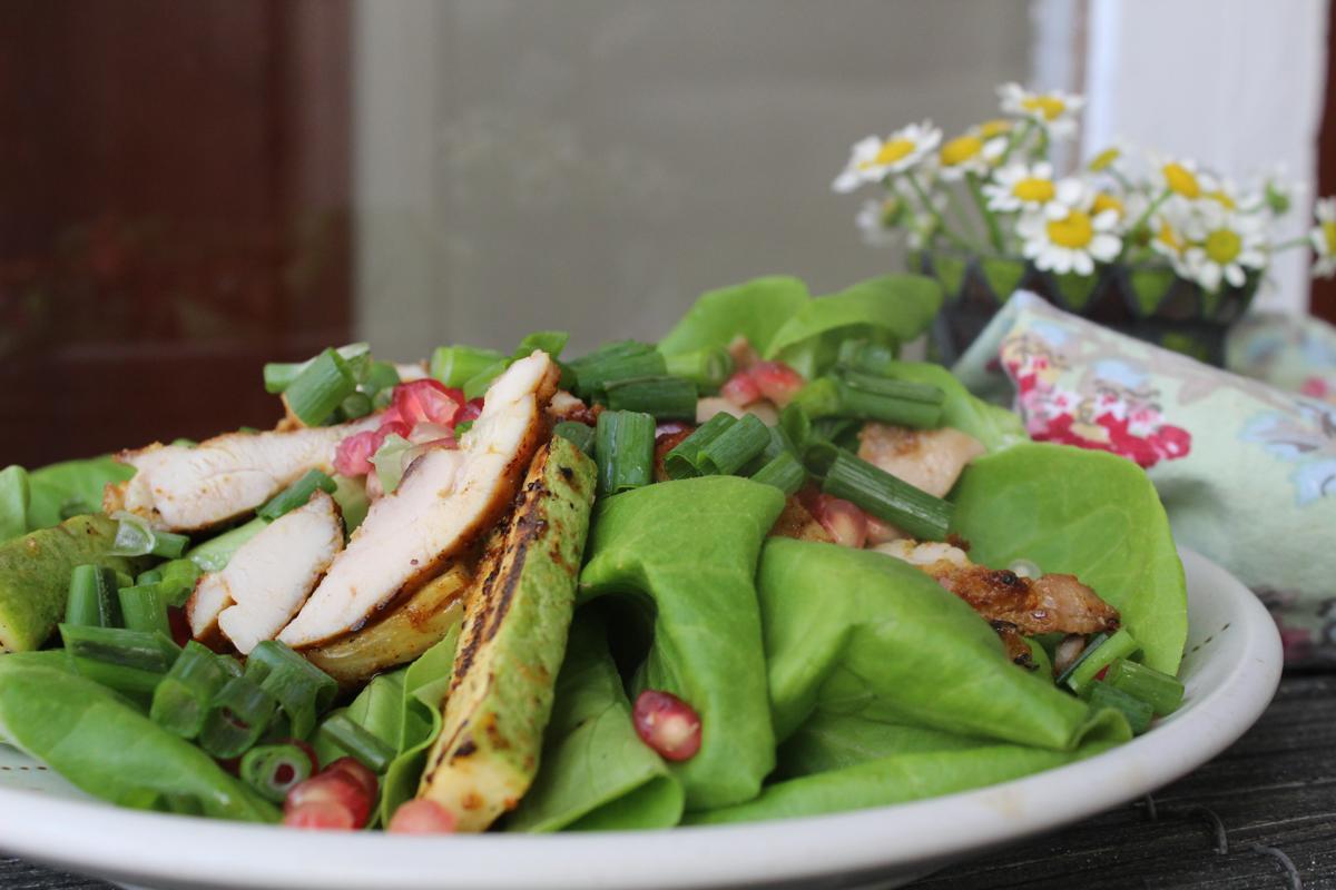 grilled-zucchini-chicken-pomogranate-scallions-salad