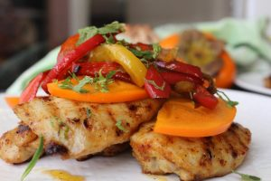 persimmon-chicken-roasted-peppers-mint