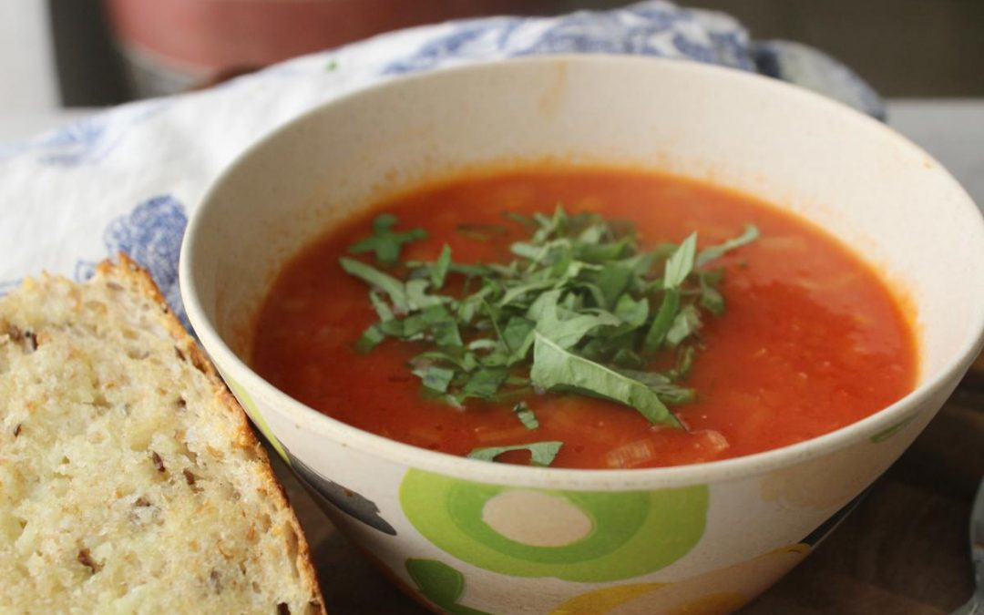 Tomato basil soup and garlic bread