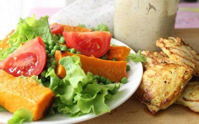 Grilled chicken butternut squash salad