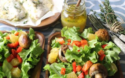 Orange ginger fish and white mushroom salad