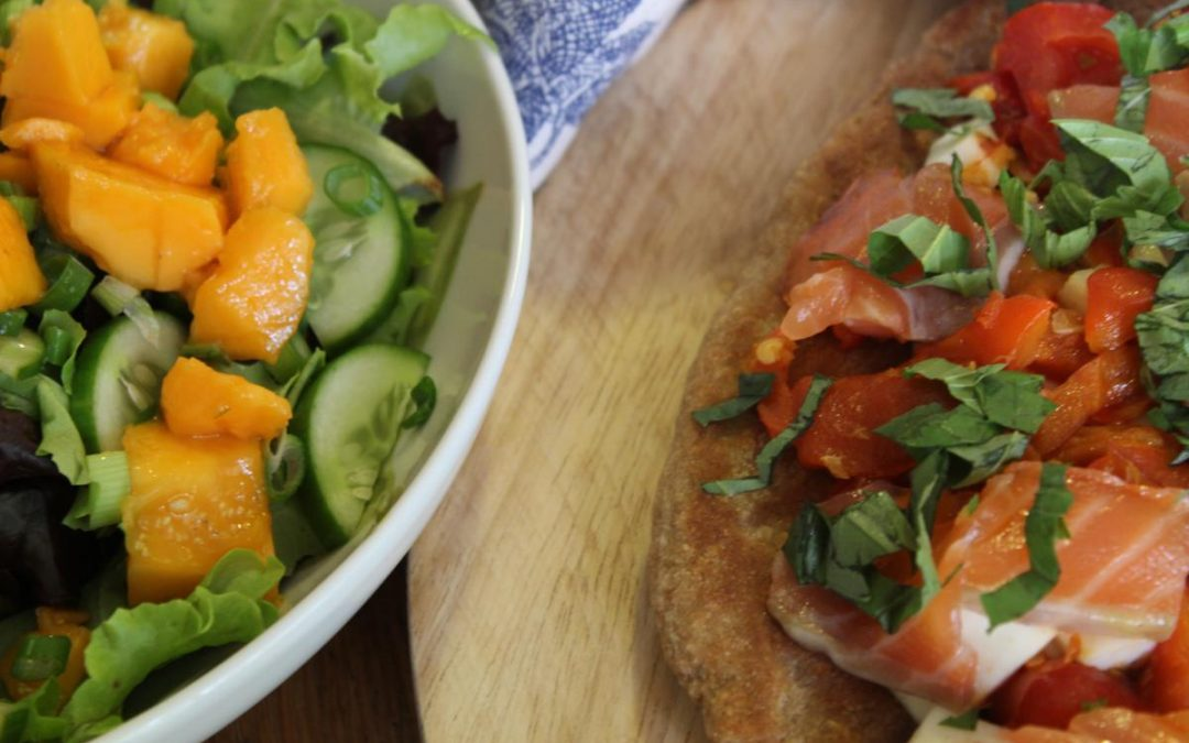 Halloumi Focaccia and papaya salad