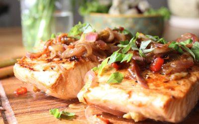 Rhubarb salmon and Roquefort salad