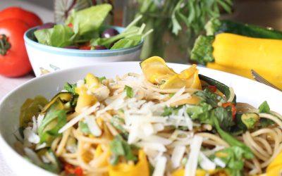 Zucchini pasta and Mediterranean salad