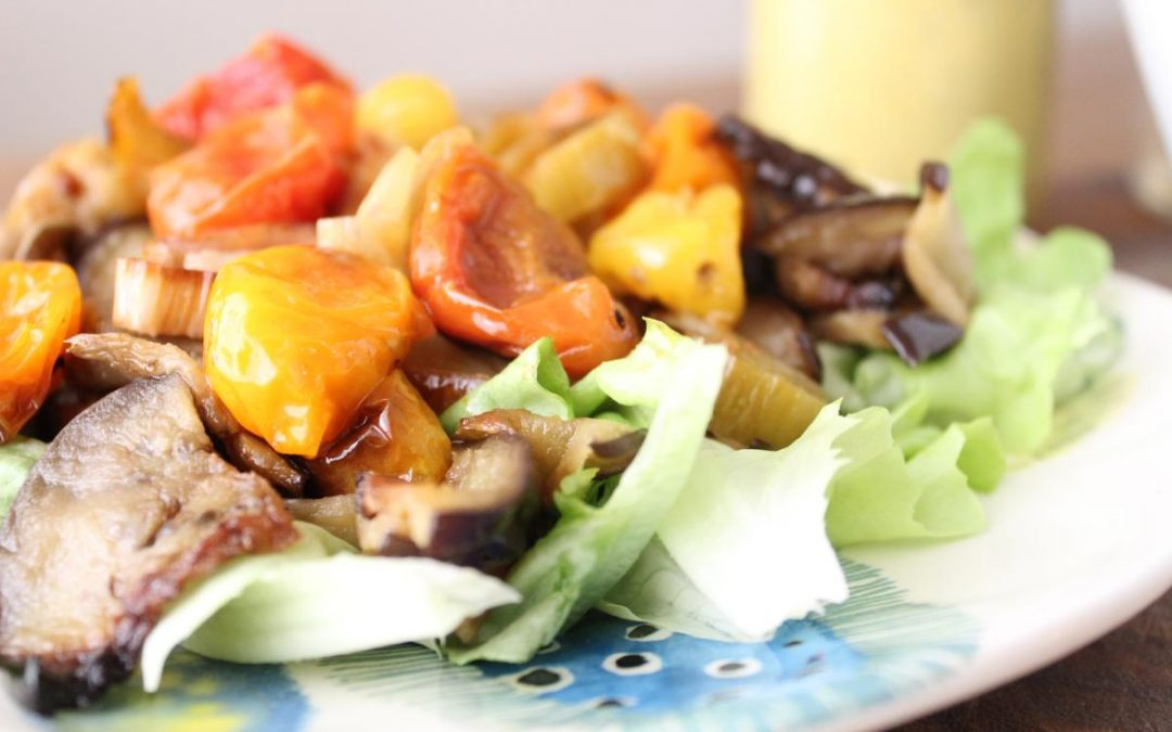 Eggplant salad with amba dressing