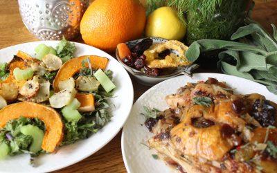 Chutney chicken and Butternut squash kale salad