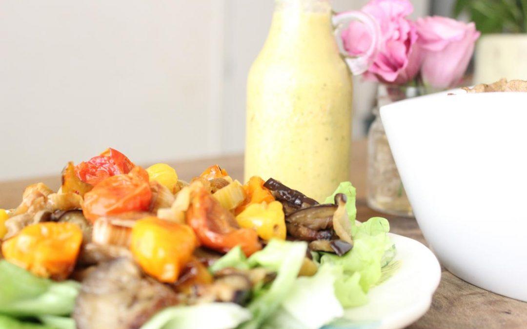 Shawarma and eggplant amba salad