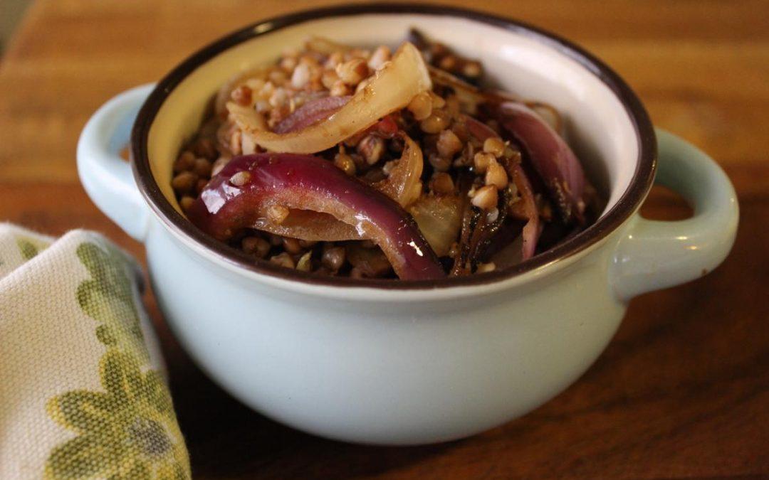 Grilled onion kasha