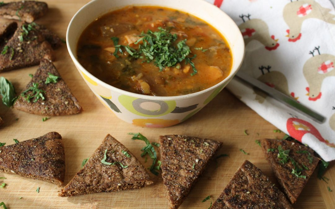 Lentil soup and pita chips