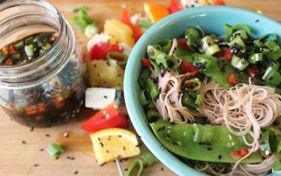 Tofu skewers and Sugar snap pea rice noodles