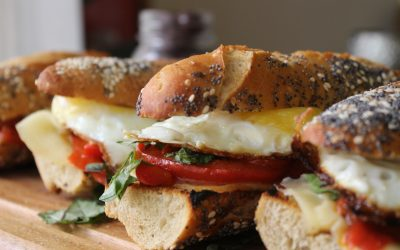Sunny side up sandwiches and pea shoot salad