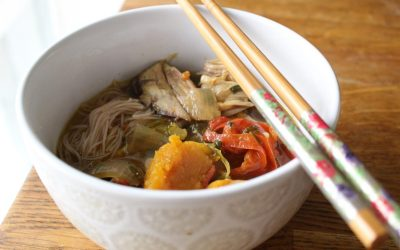 Butternut squash chicken soup with thin rice noodles