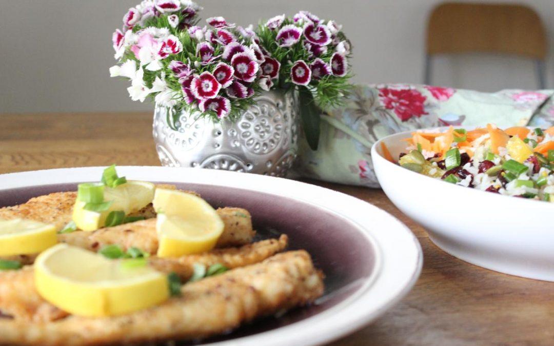 Fish sticks and rice salad