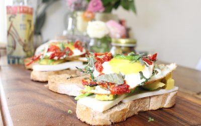 Egg Sandwich and Halloumi salad