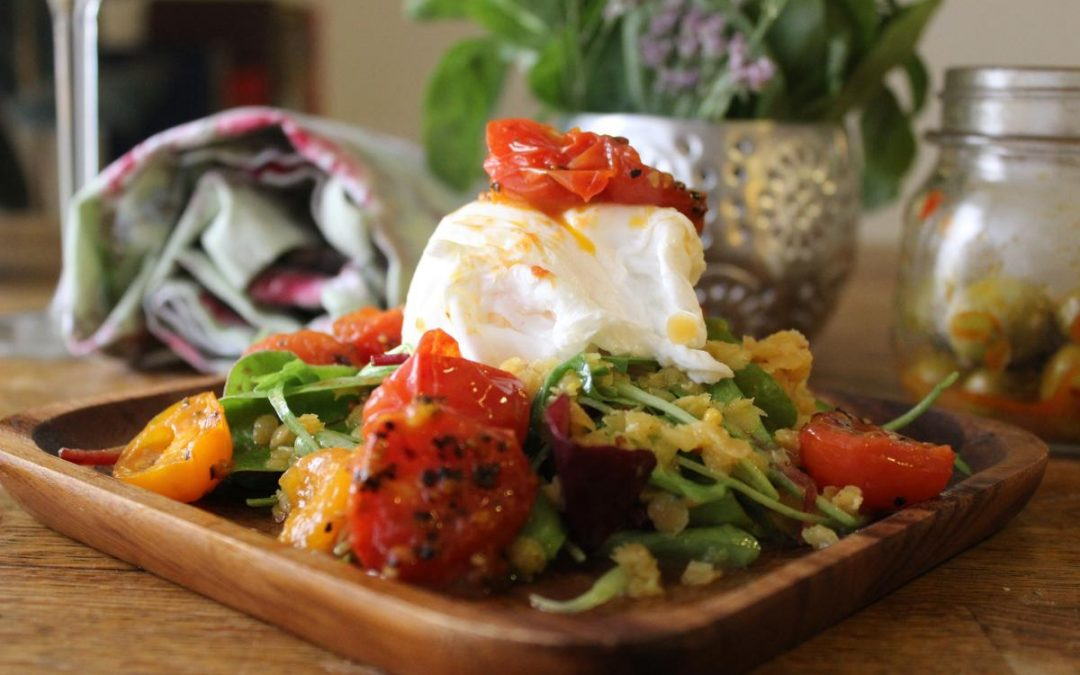 Poached eggs roasted tomato salad