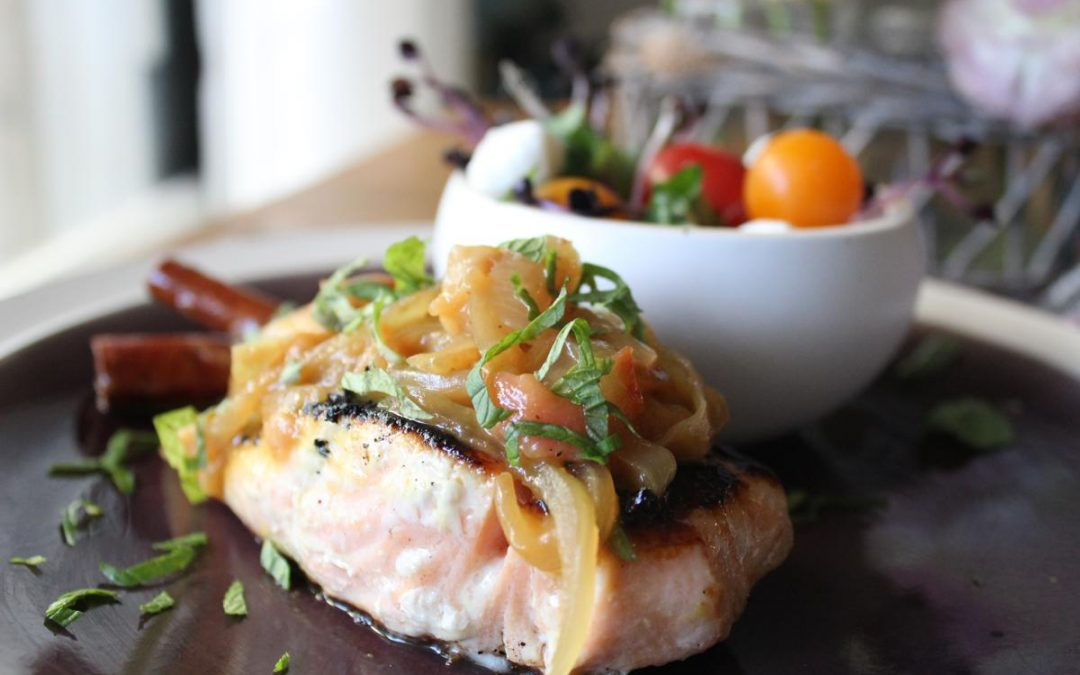 Spicy peach salmon and caprese salad