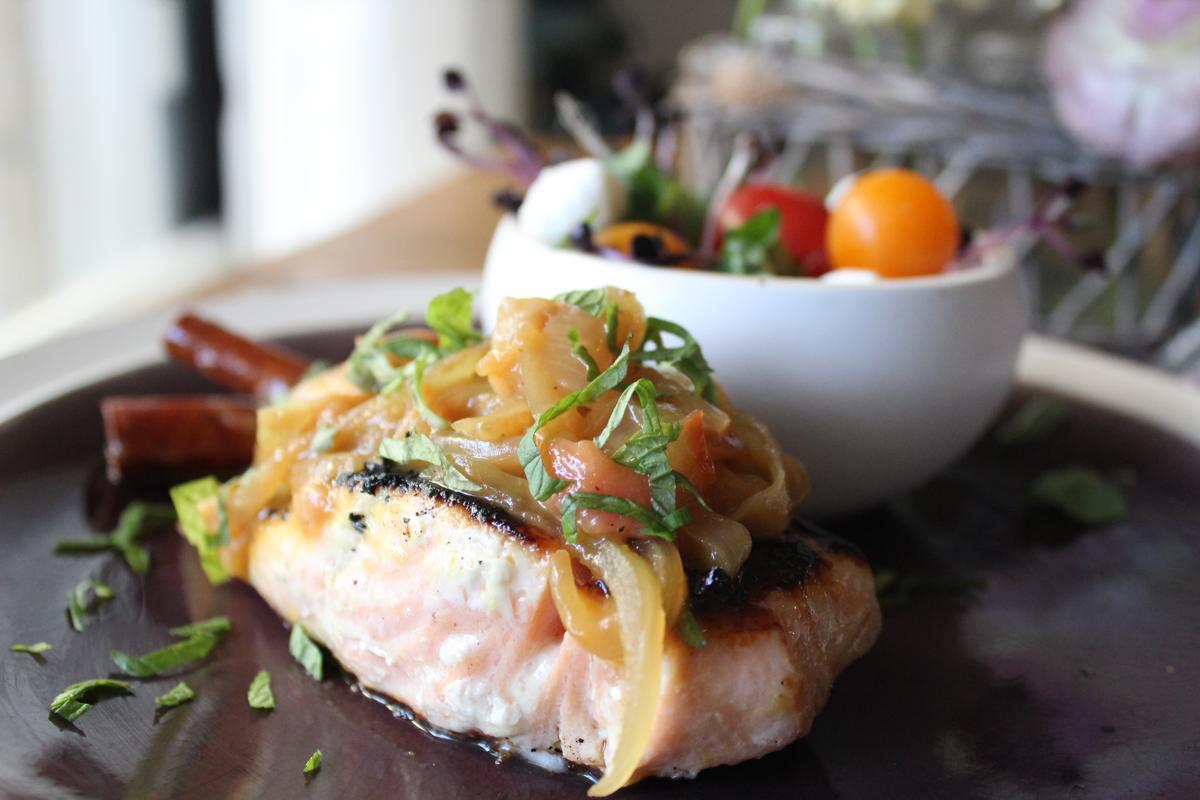 salmon-peach-jam-caprese-salad
