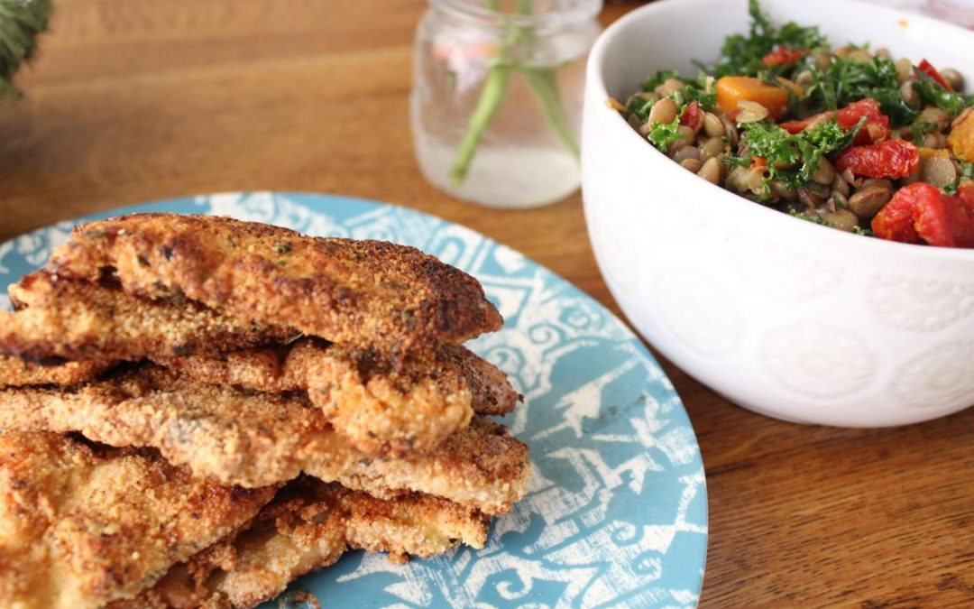 Shnitzel and lentil basil salad