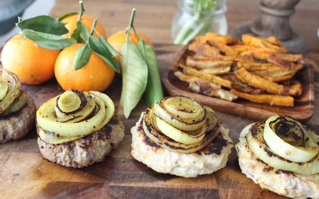Juicy burgers and Jerusalem artichoke butternut squash fries