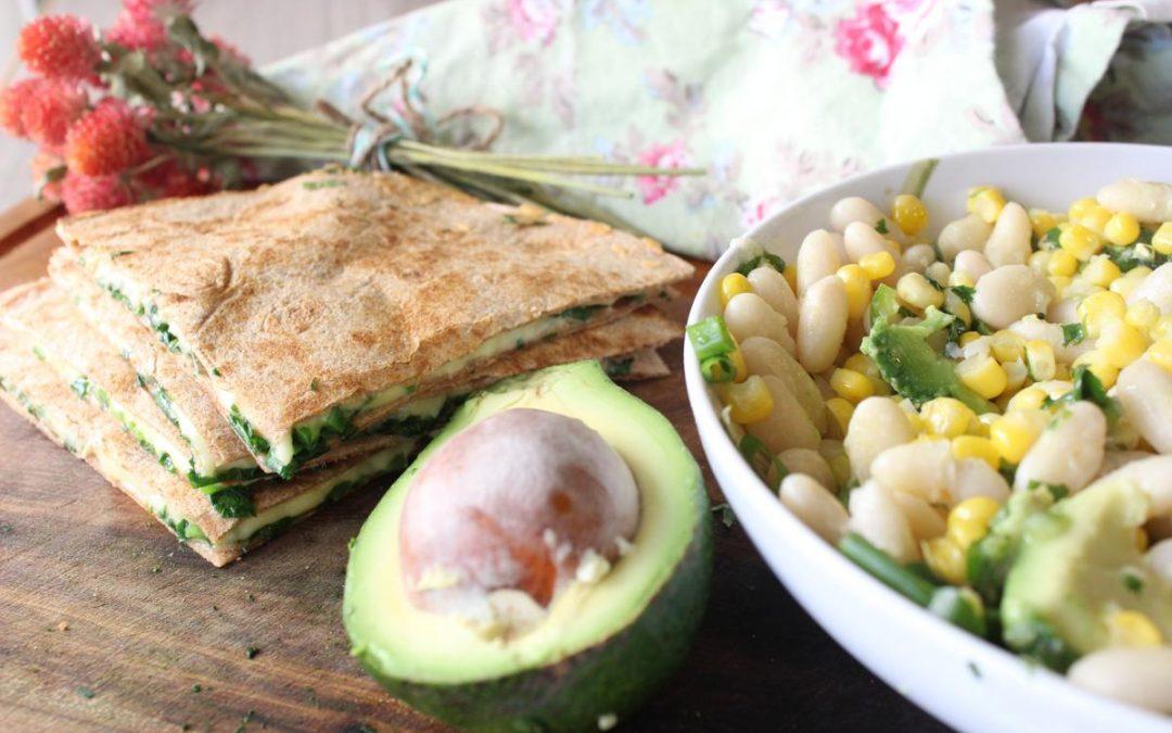 Quesadillas and white bean corn salsa