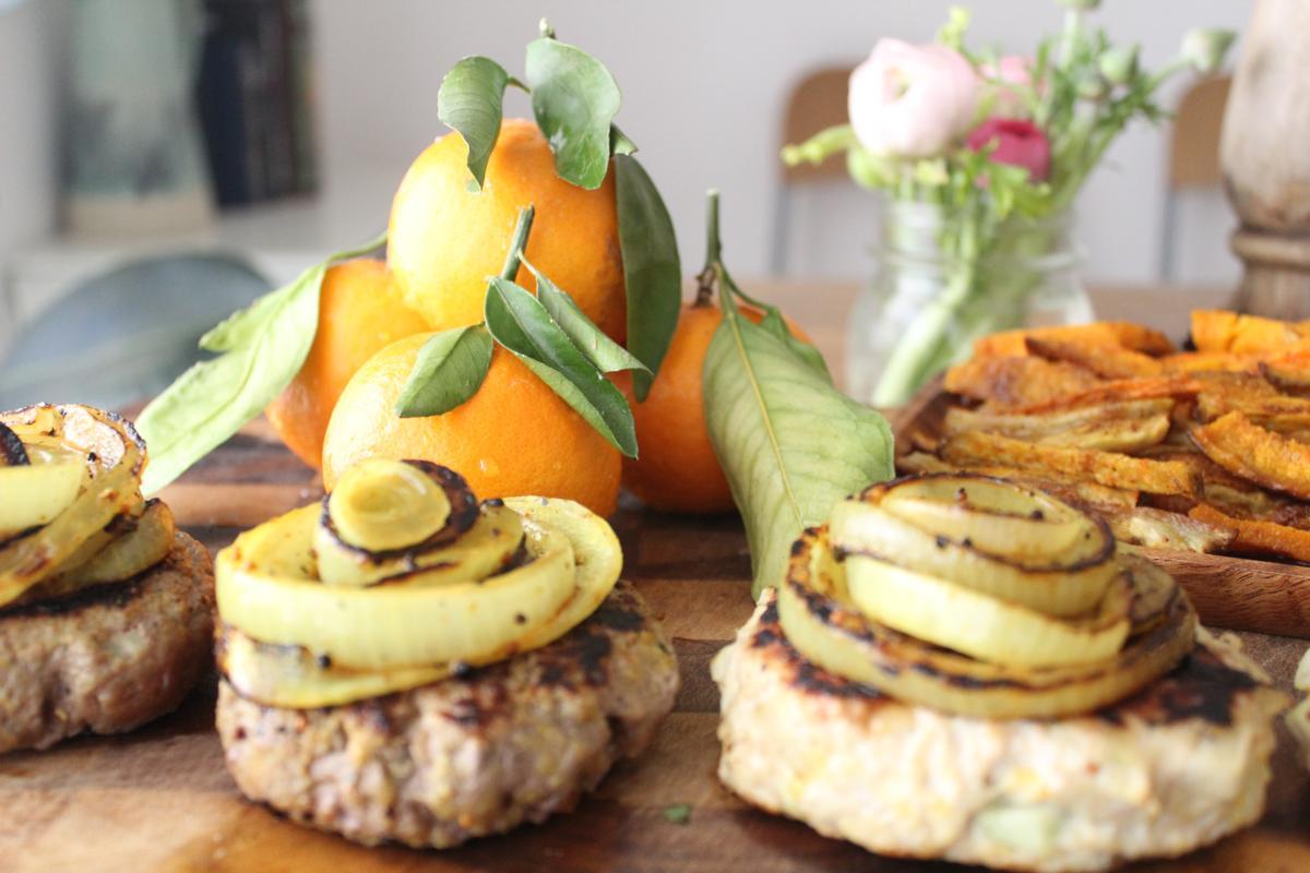 chicken-beef-burgers-mustard-onion-rings