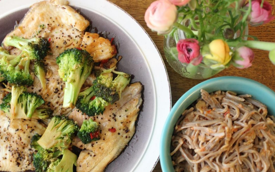 Lemon fish and noodles in cream sauce